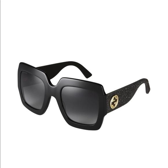 4c6360e4874 Gucci Accessories - GUCCI glittered rubber temple black sunglasses